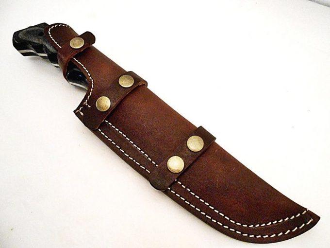 Custom-Handmade-Damascus-Steel-Hunting-Tracker-Knife-Black-Grey-Colored-Wood-Handle-With-Leather-Sheath