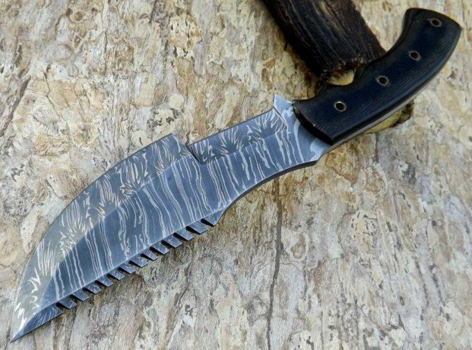 Custom-Handmade-Damascus-Steel-Hunting-Tracker-Knife-Black-Micarta-Handle-With-Leather-Sheath