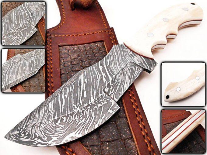 Custom-Handmade-Damascus-Steel-Hunting-Tracker-Knife-Camel-Bone-Handle-With-Leather-Sheath