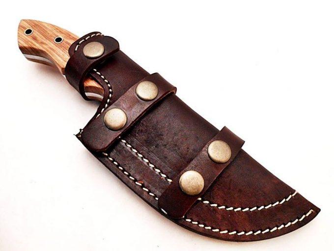 Custom-Handmade-Damascus-Steel-Hunting-Tracker-Knife-Cow-Wood-Handle-With-Leather-Sheath