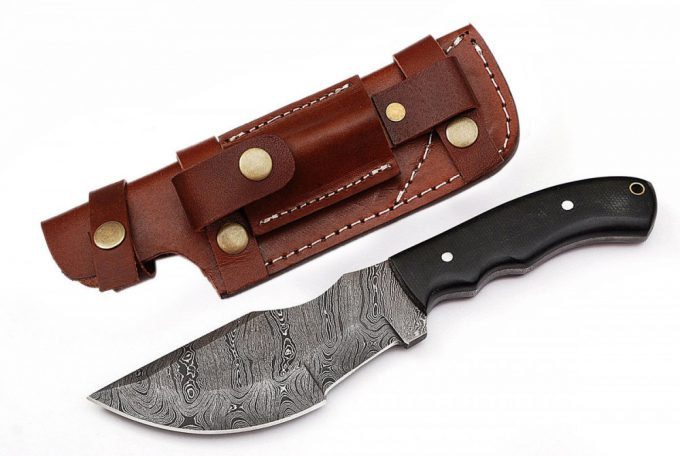 Custom-Handmade-Damascus-Steel-Hunting-Tracker-Knife-Micarta-Handle-With-Leather-Sheath