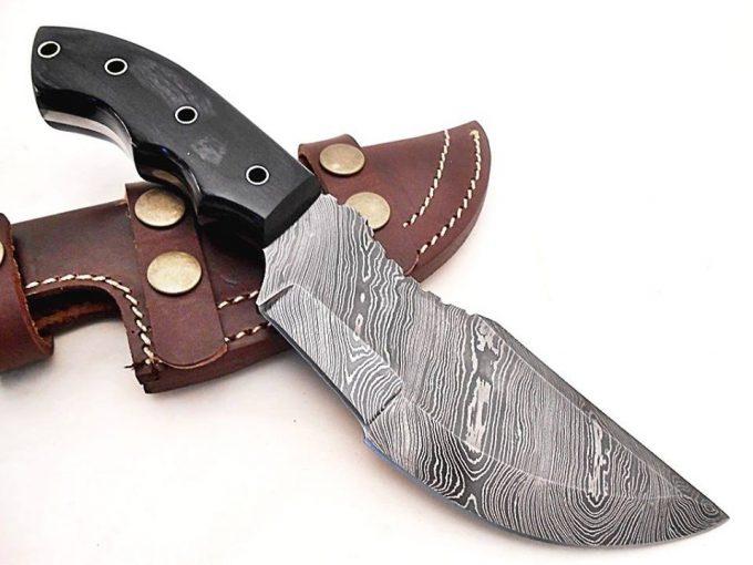 Custom-Handmade-Damascus-Steel-Hunting-Tracker-Knife-With-Black-Grey-Colored-Wood-Handle