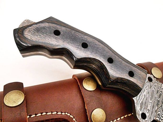 Damascus-Steel-Hunting-Tracker-Knife-With-Black-Grey-Colored-Wood-Handle