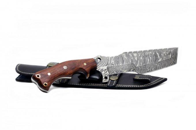 Custom-Handmade-Damascus-Steel-Hunting-Tracker-Knife-Rose-Wood-Handle-With-Leather-Sheath