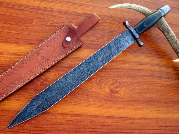 Custom-Handmade-Damascus-Steel-Hunting-Sword-Micarta-Handle-With-Leather-Sheath