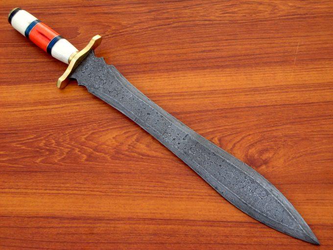 Handmade-Damascus-Steel-Dagger-Hunting-Sword