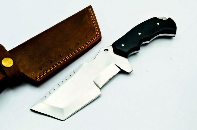 Custom-Handmade-D2-Steel-Hunting-Tracker-Knife-Micarta-Handle-With-Leather-Sheath