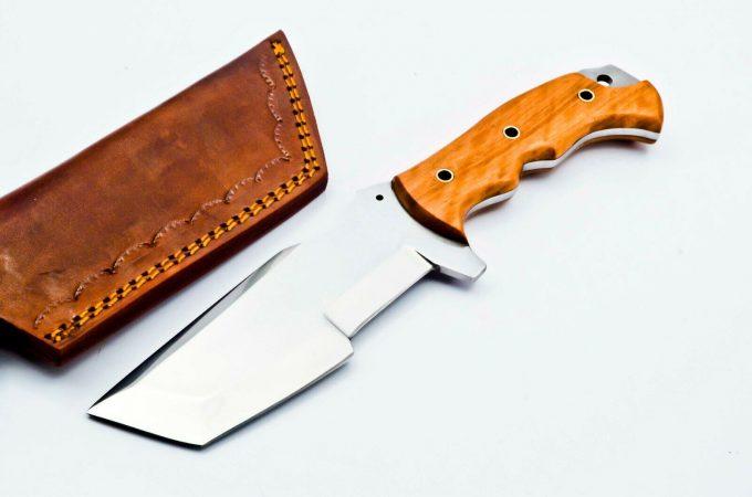 Custom-Handmade-D2-Steel-Hunting-Tracker-Knife-Olive-Wood-Handle-With-Leather-Sheath