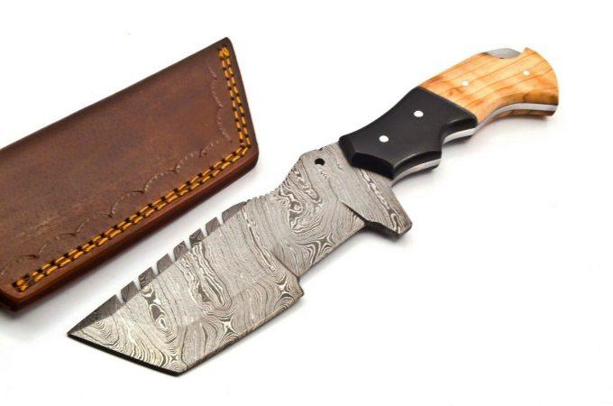 Custom-Handmade-Damascus-Steel-Hunting-Tracker-Knife-Olive-Wood-And-Black-Micarta-Handle-With-Leather-Sheath