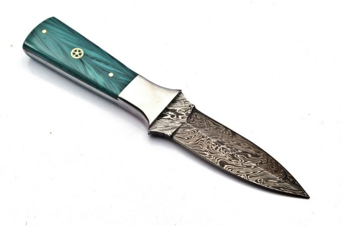 Damascus-Steel-Hunting-Dagger-Knife-With-Resin-Wood-Handle