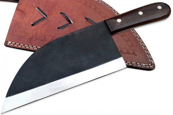 Custom-Handmade-D2-Steel-Cleaver-Knife-Wenge-Wood-Handle-With-Leather-Sheath