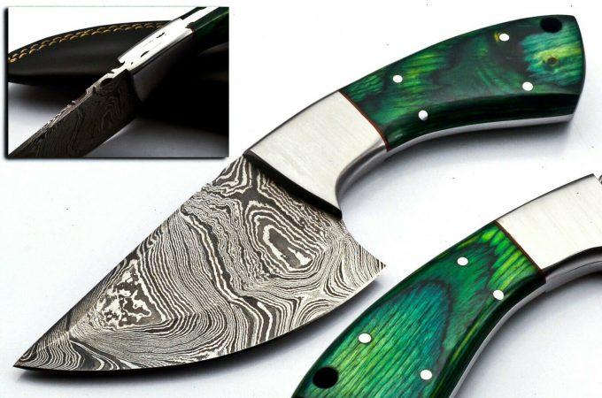 Custom-Handmade-Damascus-Steel-Hunting-Skinner-Knife-Pakka-WWood-Handle-With-Leather-Sheath