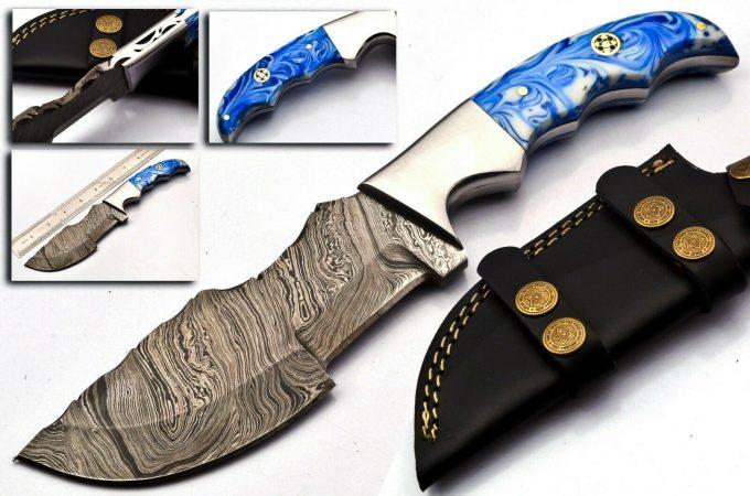 Custom-Handmade-Damascus-Steel-Hunting-Tracker-Knife-Resin-Sheet-Handle-With-Leather-Sheath
