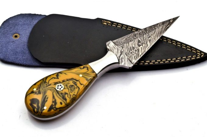 Damascus-Steel-Hunting-Dagger-Knife-Resin-Sheet-Handle