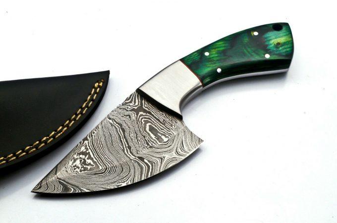 Damascus-Steel-Hunting-Skinner-Knife-Custom-Handmade-Pakka-WWood-Handle