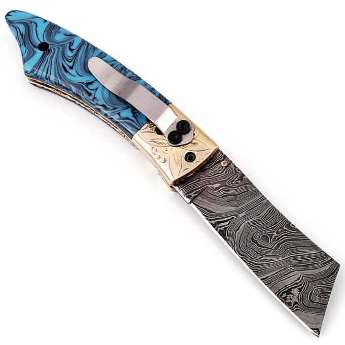 Damascus-Steel-Pocket-Folding-Knife-With-Resin-Sheet-Handle