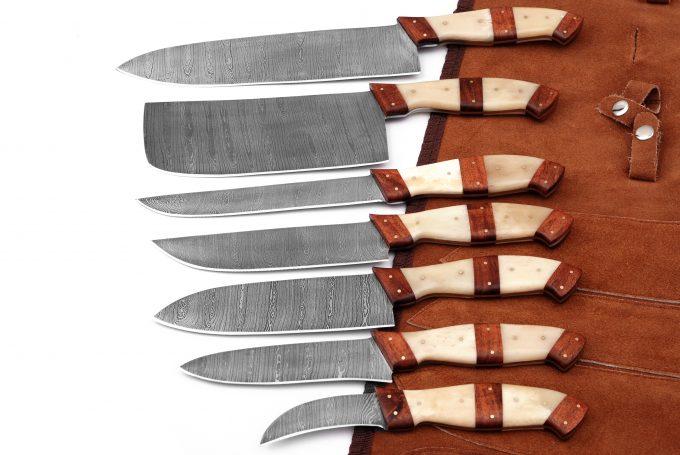 Custom-Handmade-Damascus-Steel-Chef-Kitchen-Knife-Set-Camel-Bone-Handle-With-Leather-Sheath