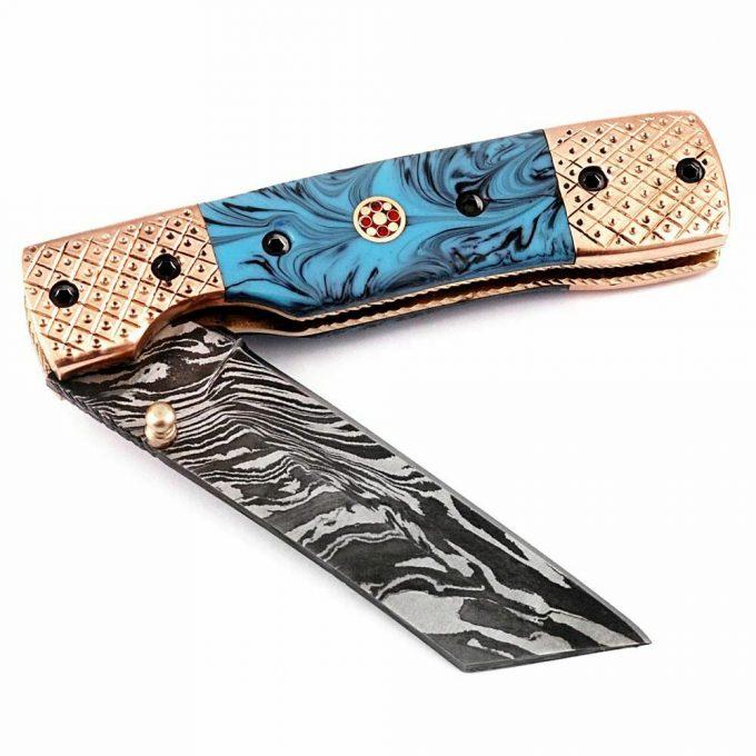 Damascus-Steel-Pocket-Folding-Knife-Custom-Handmade-Resin-Sheet-Handle