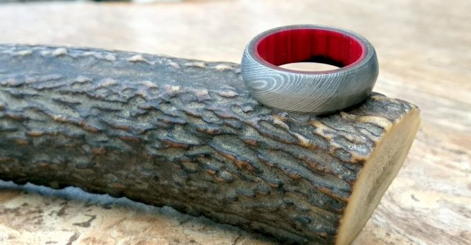 Handmade-Damascus-Steel-Beautiful-Ring-Wood-Inlay-Ring