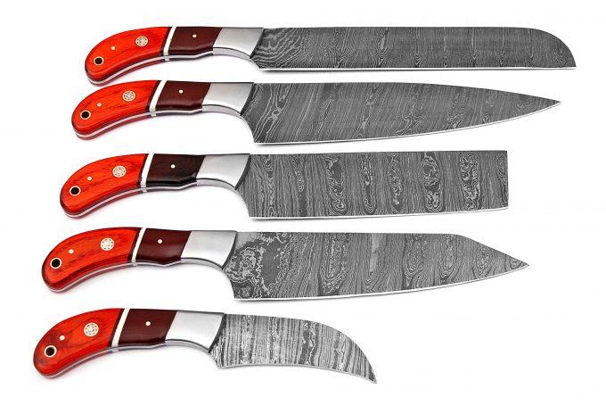 Handmade-Damascus-Steel-Kitchen-Chef-Knives-Set