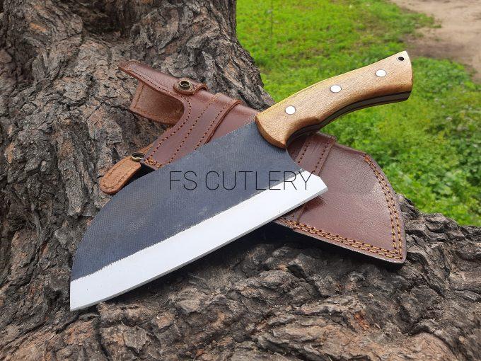 Custom-Handmade-D2-Steel-Chef-Cleaver-Knife-Himalaya-Wood-Handle-With-Leather-Sheath