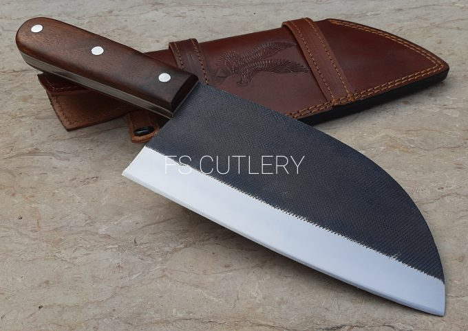 Custom-Handmade-D2-Steel-Chef-Cleaver-Knife-Rose-Wood-Handle-With-Leather-Sheath