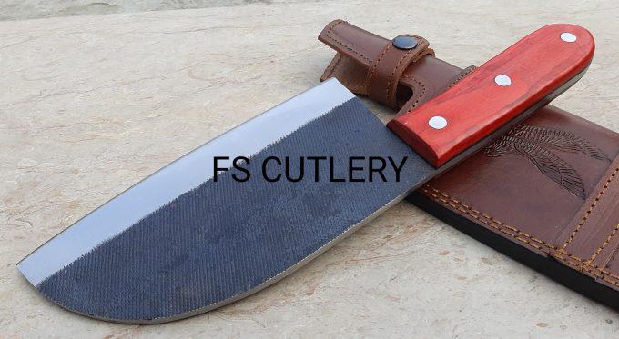 Custom-Handmade-D2-Steel-Chef-Cleaver-Knife-With-Red-Pakka-Wood-Handle