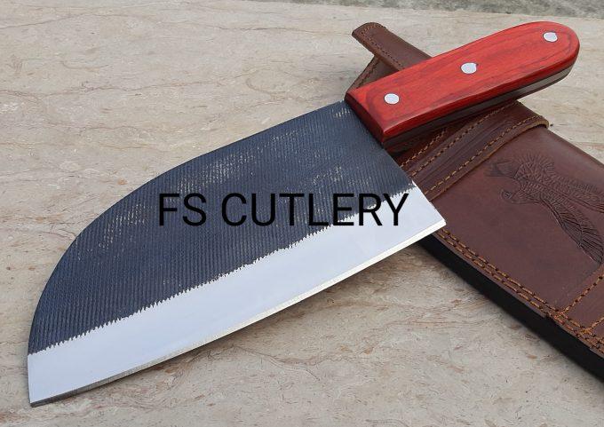 Custom-Handmade-D2-Steel-Cleaver-Knife-Red-Pakka-Wood-Handle-With-Leather-Sheath