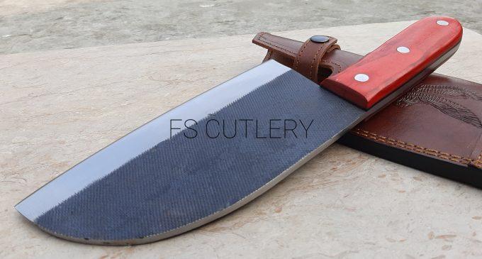 D2-Steel-Chef-Cleaver-Knife-Custom-Handmade-Red-Pakka-Wood-Handle