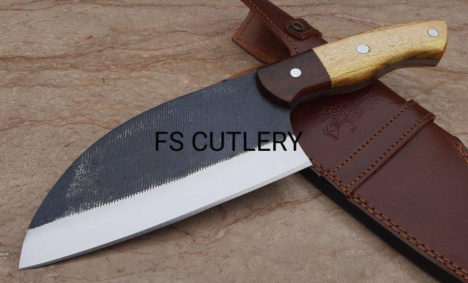 Custom-Handmade-D2-Steel-Chef-Cleaver-Knife-Himalaya-Wood-And-Rose-Wood-Handle-With-Leather-Sheath