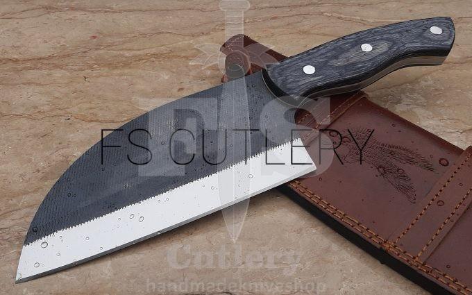 Custom-Handmade-D2-Steel-Cleaver-Knife-Black-Pakka-Wood-Handle-With-Leather-Sheath