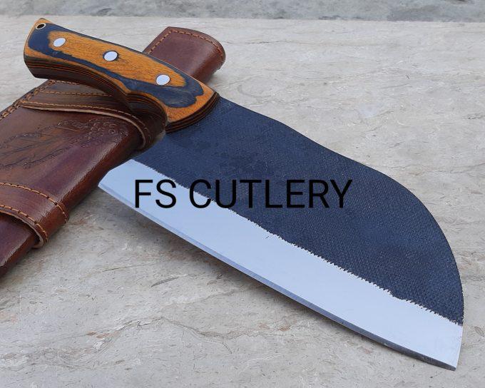 Custom-Handmade-D2-Steel-Cleaver-Knife-Pakka-Wood-Handle-With-Leather-Sheath