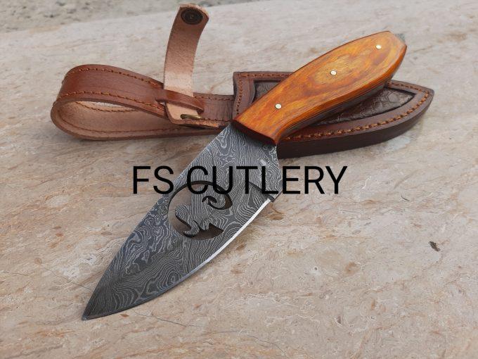 Custom-Handmade-Damascus-Steel-Hunting-Skinner-Knife-Orange-Pakka-Wood-Handle-With-Leather-Sheath