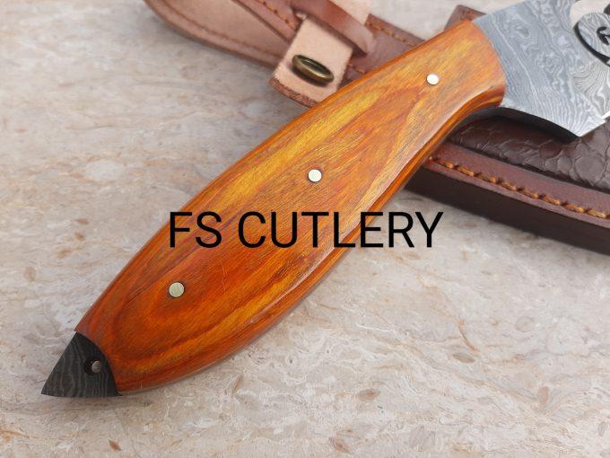 Custom-Handmade-Damascus-Steel-Hunting-Skinner-Knife-With-Orange-Pakka-Wood-Handle